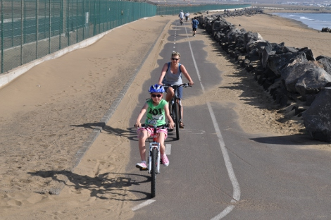 Cycling passed Arrecife Airport on Lanzarote