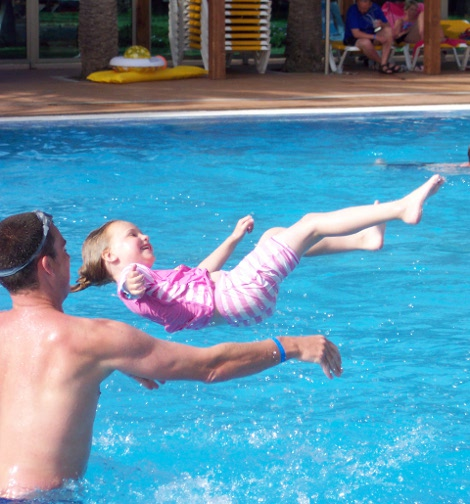 Having a splash round in the pool at The Hotel Orquidea in Gran Canaria