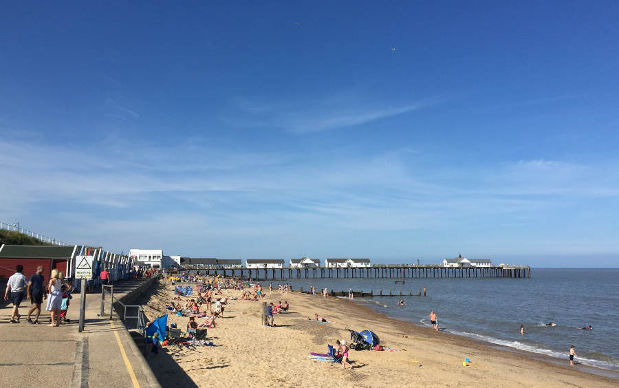 The busy beach at Southwold in Suffolk