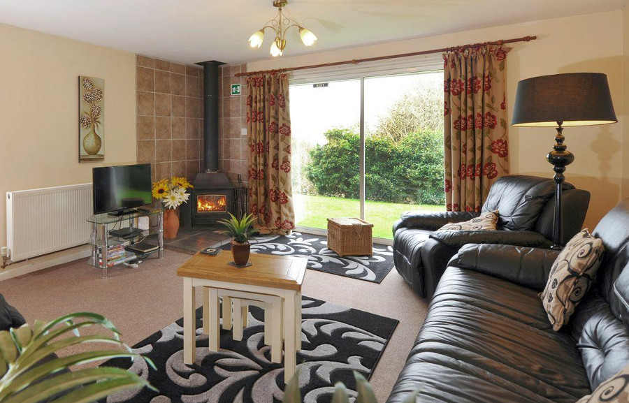 The living room at Woodland Hideaway, one of the holiday cottages at Drewstone Farm Cottages
