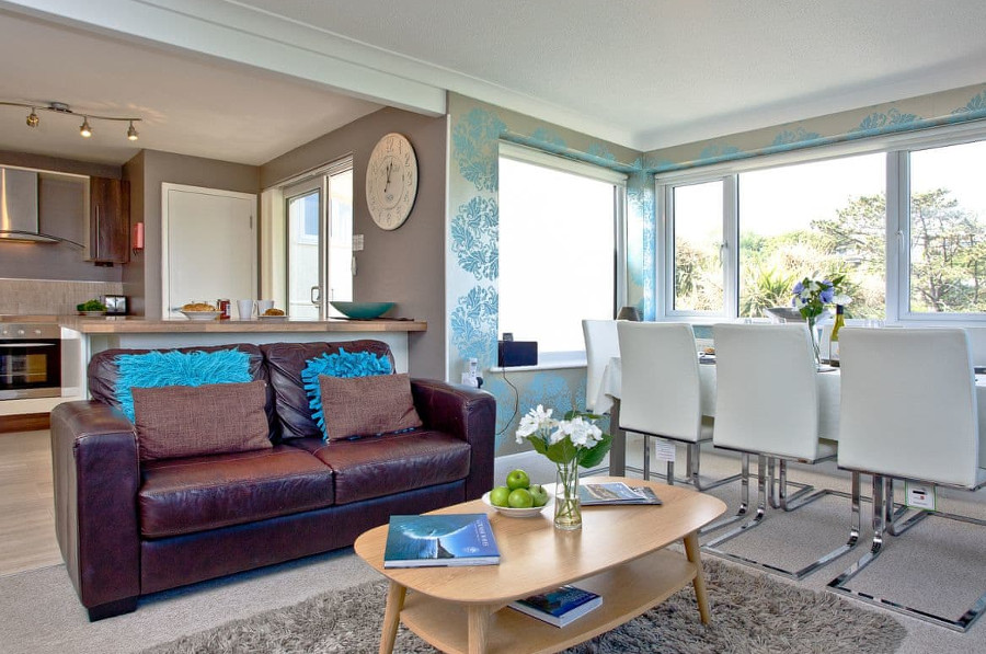 The open-plan living area at Fairsky in Carbis Bay