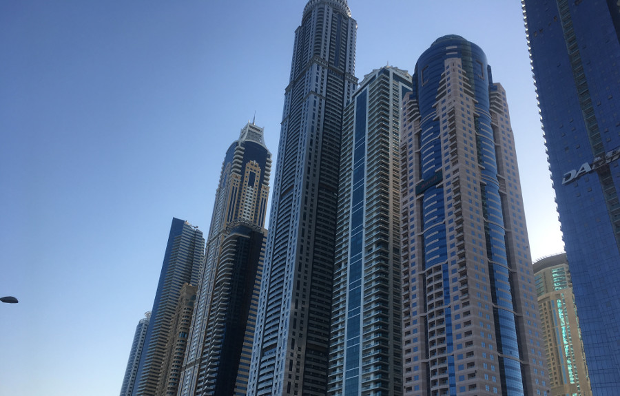 Just some of the grand new buildings which ring Dubai Marina