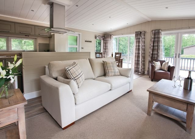 The living room at one of the lodges on Bath Mill Lodge Retreat