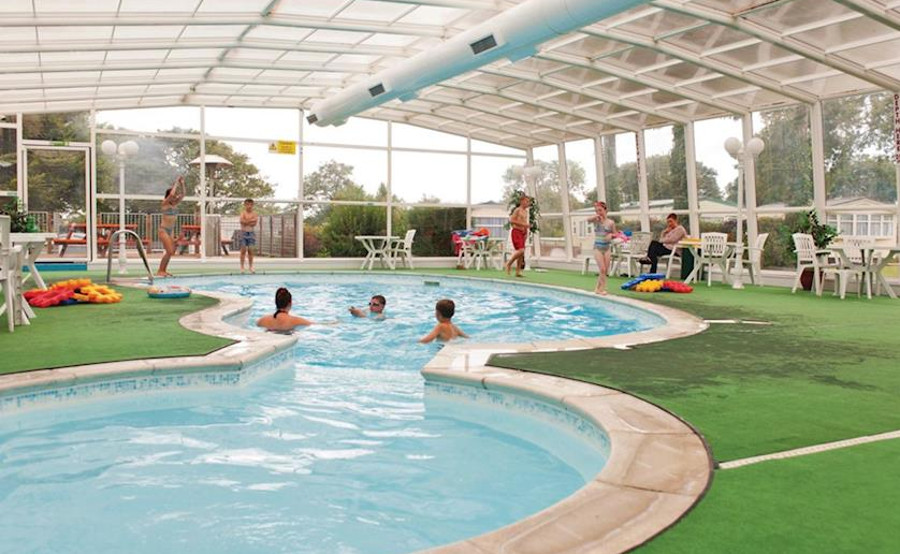 The indoor swimming pool at Cross Park Holiday Village in South Wales