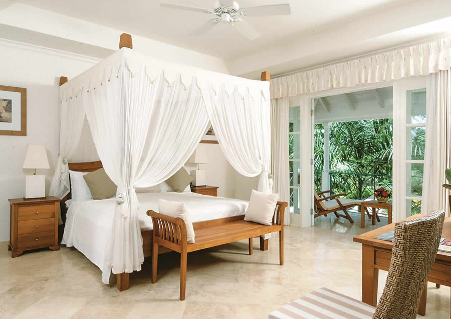 The bedroom in Moonshine, one of the villas at Schooner Bay in Speightstown