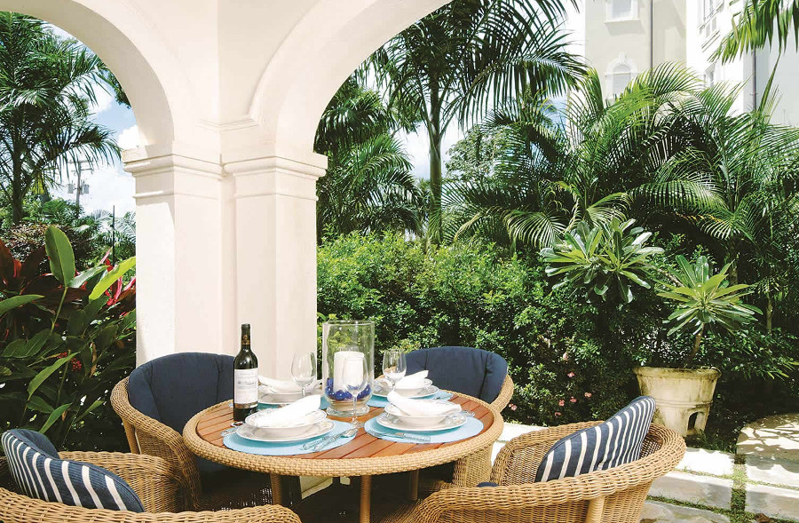 Tea on the terrace at your villa in Schooner Bay, Barbados