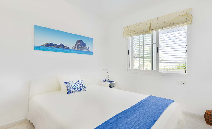 One of the six bedrooms at Villa Oasis in San Jordi, Ibiza